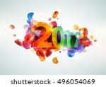 new year poster. colorful... | Shutterstock .eps vector #496054069
