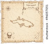 saint thomas old pirate map.... | Shutterstock .eps vector #496057051