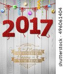 new year 2017 knitted fabric as ... | Shutterstock .eps vector #496061404
