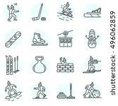 winter games icons set. active... | Shutterstock .eps vector #496062859