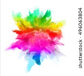 explosion of colored powder ... | Shutterstock . vector #496063804