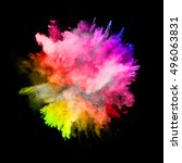 explosion of colored powder ... | Shutterstock . vector #496063831