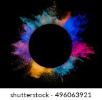 explosion of colored powder... | Shutterstock . vector #496063921