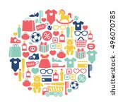 round design element with kids... | Shutterstock .eps vector #496070785