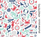 seamless pattern with sea icons | Shutterstock .eps vector #496070791
