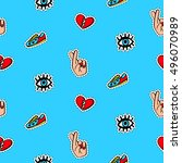 seamless pattern with... | Shutterstock .eps vector #496070989