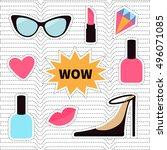 quirky cartoon sticker patch... | Shutterstock .eps vector #496071085