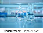 glass flask in blue science lab ... | Shutterstock . vector #496071769