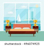 interior space bedroom with a... | Shutterstock .eps vector #496074925