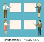 set of business coaches.... | Shutterstock .eps vector #496077277