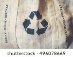 recycle sign symbol on eco... | Shutterstock . vector #496078669