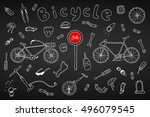 bicycle collection in doodle... | Shutterstock .eps vector #496079545