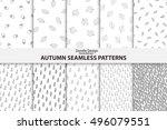 autumn seamless patterns. hand...   Shutterstock .eps vector #496079551