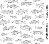 fish seamless pattern in doodle ... | Shutterstock .eps vector #496079581