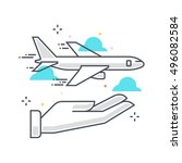 color line  flight insurance... | Shutterstock .eps vector #496082584