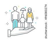 color line  family insurance... | Shutterstock .eps vector #496083274