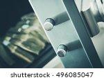 Money in the Residential Safe Box Closeup Photo. Cash Money Safe Deposit. - stock photo