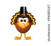 thanksgiving turkey in pilgrim... | Shutterstock .eps vector #496085167