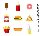 set of colorful fast food...   Shutterstock .eps vector #496087795