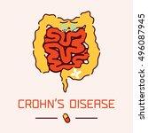 crohn's disease awareness... | Shutterstock .eps vector #496087945