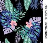 vector seamless bright artistic ... | Shutterstock .eps vector #496091587