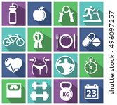 fitness and health icons ... | Shutterstock .eps vector #496097257