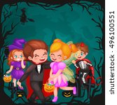 cute colorful halloween kids in ... | Shutterstock .eps vector #496100551