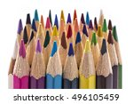 red color pencil touching a... | Shutterstock . vector #496105459