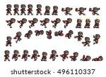ninja game sprites. suitable... | Shutterstock .eps vector #496110337