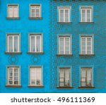 bright blue aged old building... | Shutterstock . vector #496111369