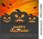 halloween pumpkin  poster ... | Shutterstock .eps vector #496112584