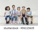 casual children cheerful cute... | Shutterstock . vector #496115635