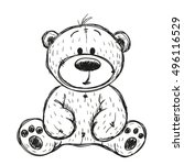 Drawing Teddy Bear Isolated On...