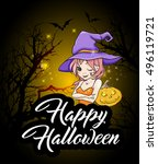 cute young witch and pumpkin.... | Shutterstock .eps vector #496119721