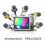 tv news or reportage concept. a ... | Shutterstock . vector #496122625