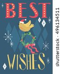 best wishes. retro holiday card ... | Shutterstock .eps vector #496134511