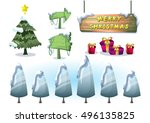 cartoon vector christmas... | Shutterstock .eps vector #496135825