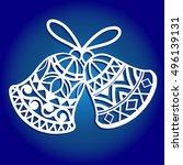 laser cut paper christmas bell .... | Shutterstock .eps vector #496139131