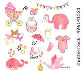 watercolor baby shower girl set....   Shutterstock . vector #496141531