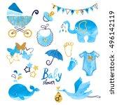 watercolor baby shower boy set. ...   Shutterstock . vector #496142119