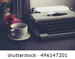 vintage typewriter and coffee... | Shutterstock . vector #496147201