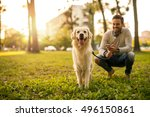 Stock photo handsome man walking his dog while texting outdoors 496150861