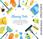 cleaning tools banner for house ... | Shutterstock . vector #496151815