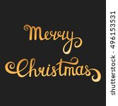 christmas typography. merry... | Shutterstock .eps vector #496153531