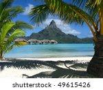 under palm trees in bora bora   Shutterstock . vector #49615426