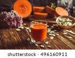 a glass of pumpkin juice placed ...   Shutterstock . vector #496160911