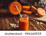 a glass of pumpkin juice placed ...   Shutterstock . vector #496160929