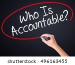 Small photo of Woman Hand Writing Who Is Accountable? on blank transparent board with a marker isolated over black background. Business concept. Stock Photo