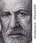 Small photo of Sigmund Freud face portrait on Austria 50 schilling banknote closeup macro. Austrian neurologist and the founder of psychoanalysis.