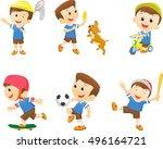collection of happy cartoon boy ... | Shutterstock . vector #496164721